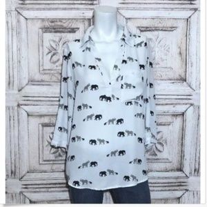 New York Company Women's Blouse Elephant Print